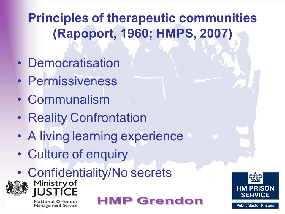 Principles of therapeutic communities (Rapoport, 1960; HMPS, 2007)