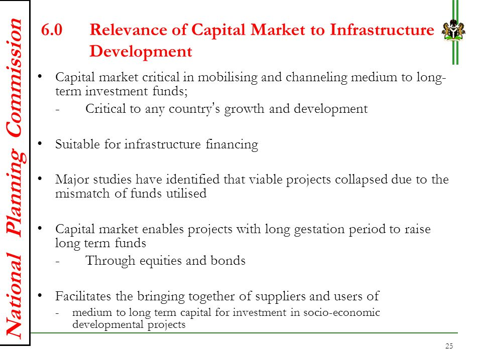 6.0 Relevance of Capital Market to Infrastructure Development