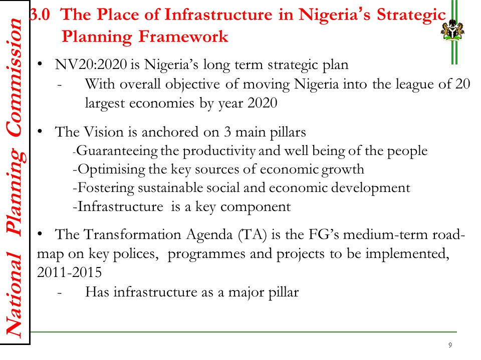 3.0 The Place of Infrastructure in Nigeria's Strategic Planning Framework
