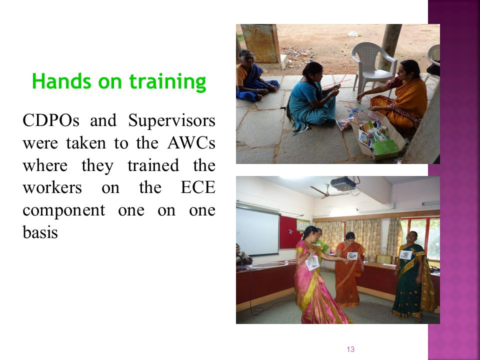 Hands on training CDPOs and Supervisors were taken to the AWCs where they trained the workers on the ECE component one on one basis.