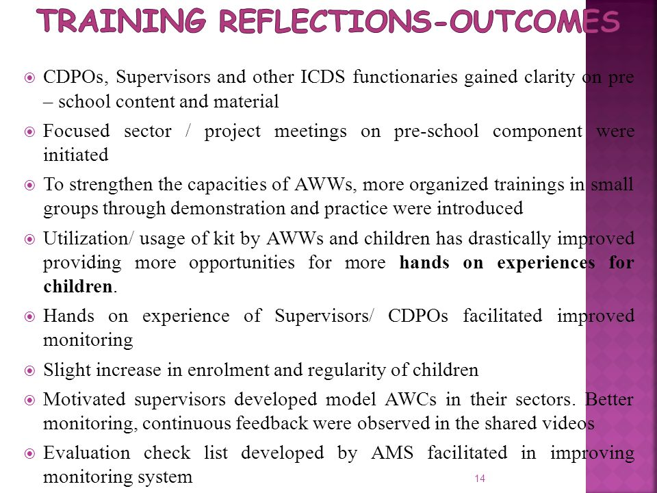 Training reflections-Outcomes