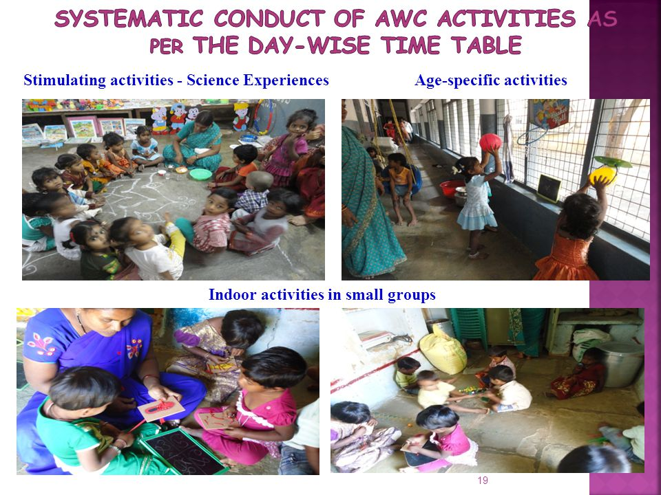 Systematic conduct of AWC activities as per the day-wise time table