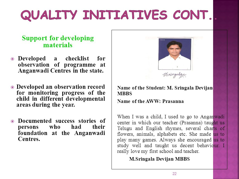 Quality Initiatives cont..