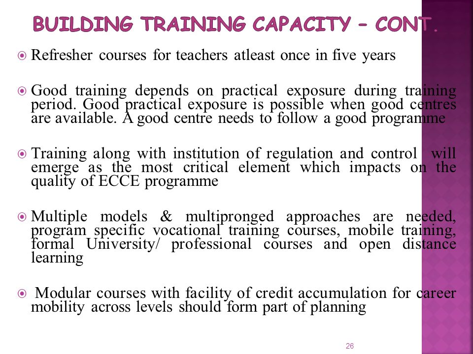 Building Training Capacity – cont.
