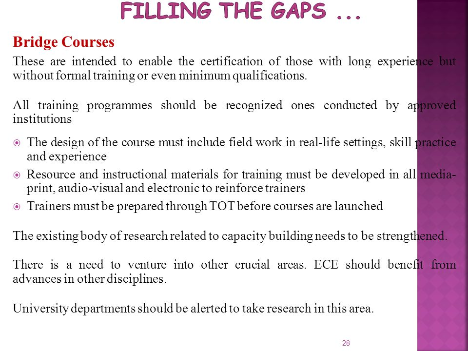 Filling the Gaps ... Bridge Courses