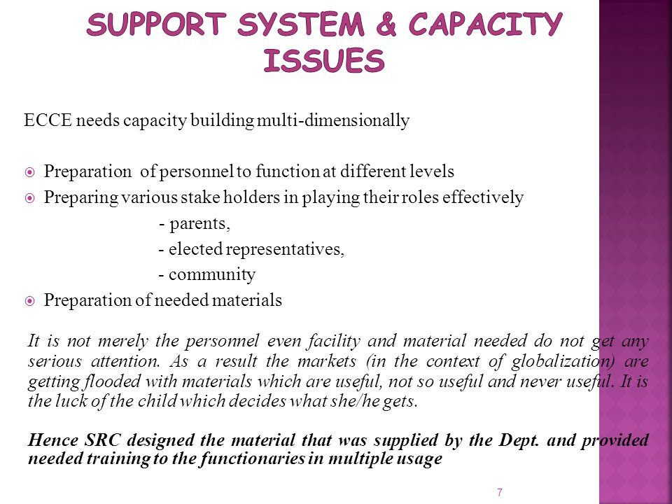 Support System & Capacity Issues