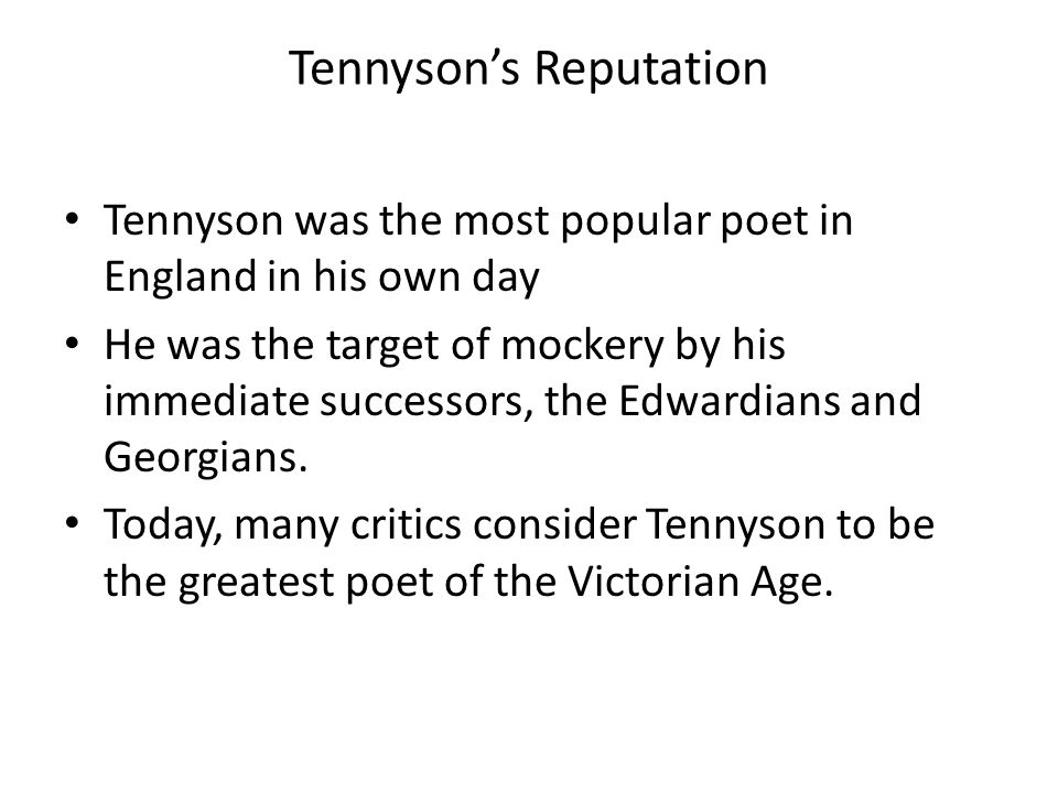 Tennyson's Reputation