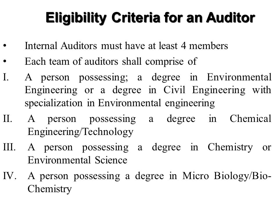 Eligibility Criteria for an Auditor