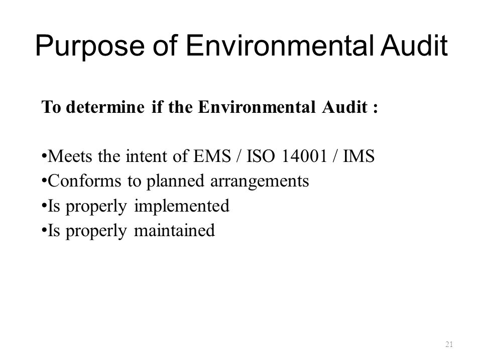 Purpose of Environmental Audit