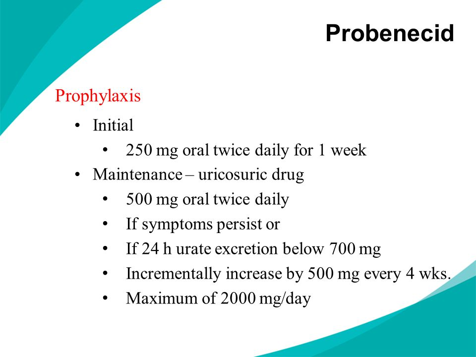 Probenecid Prophylaxis Initial 250 mg oral twice daily for 1 week