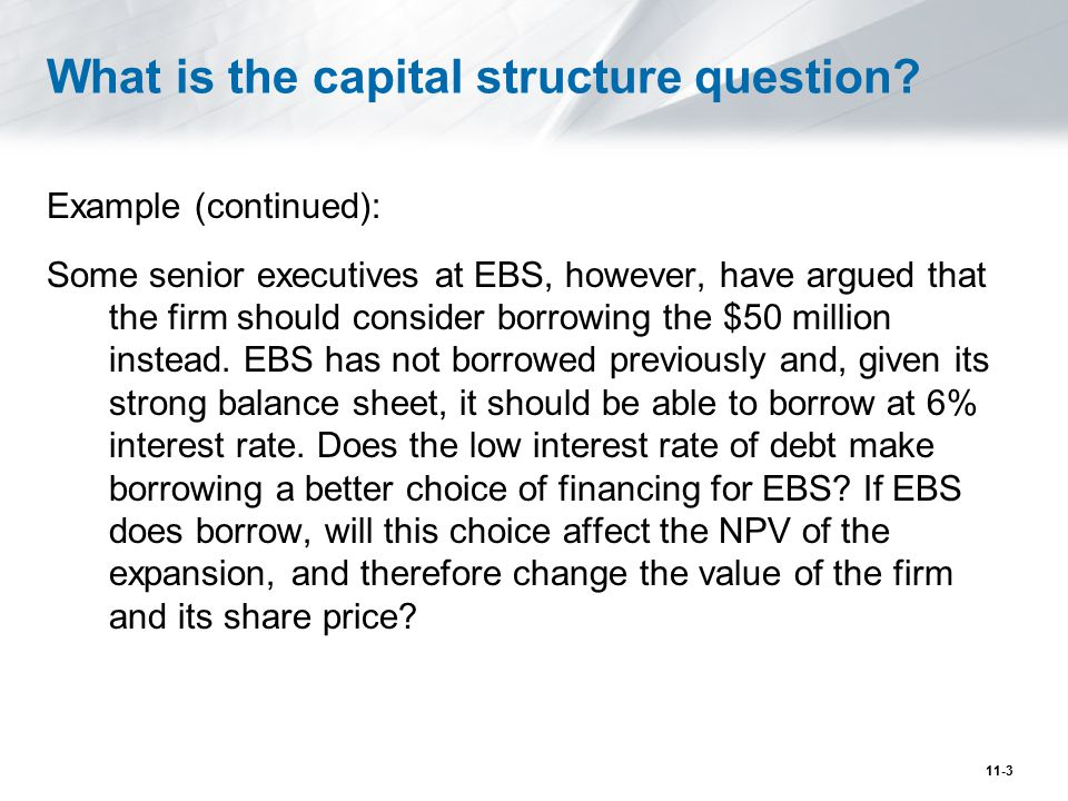 What is the capital structure question