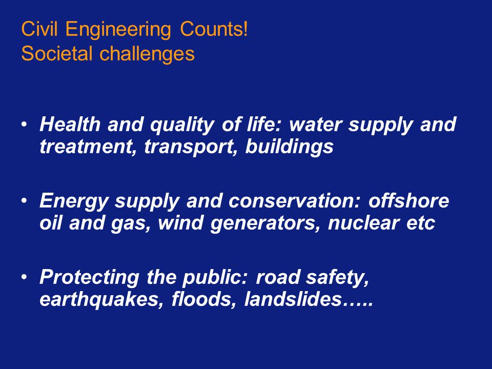 Civil Engineering Counts! Societal challenges