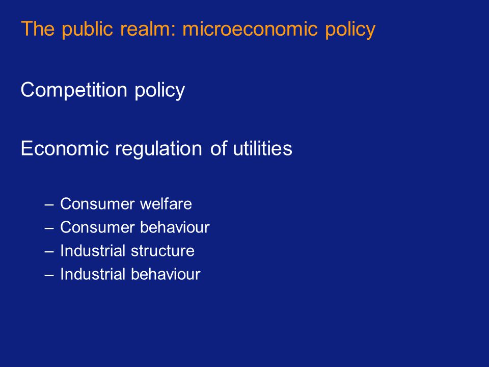 The public realm: microeconomic policy