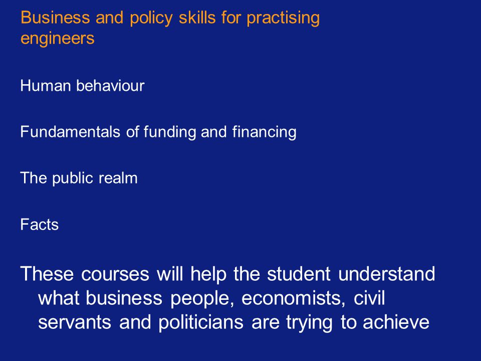 Business and policy skills for practising engineers