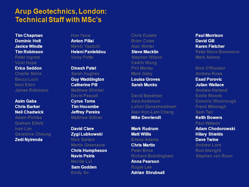 Arup Geotechnics, London: Technical Staff with MSc's