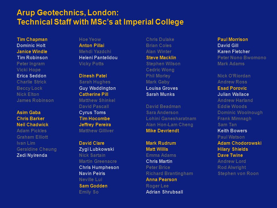 Arup Geotechnics, London: Technical Staff with MSc's at Imperial College