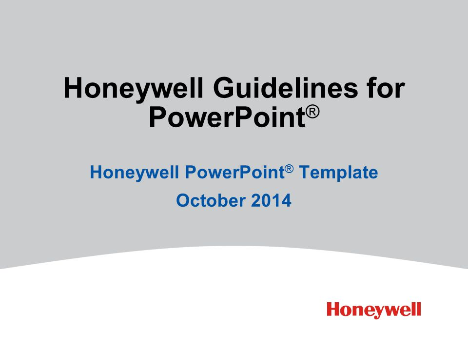 Honeywell Guidelines for PowerPoint®