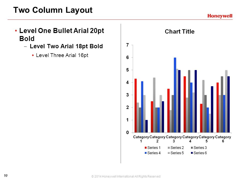 Two Column Layout Level One Bullet Arial 20pt Bold