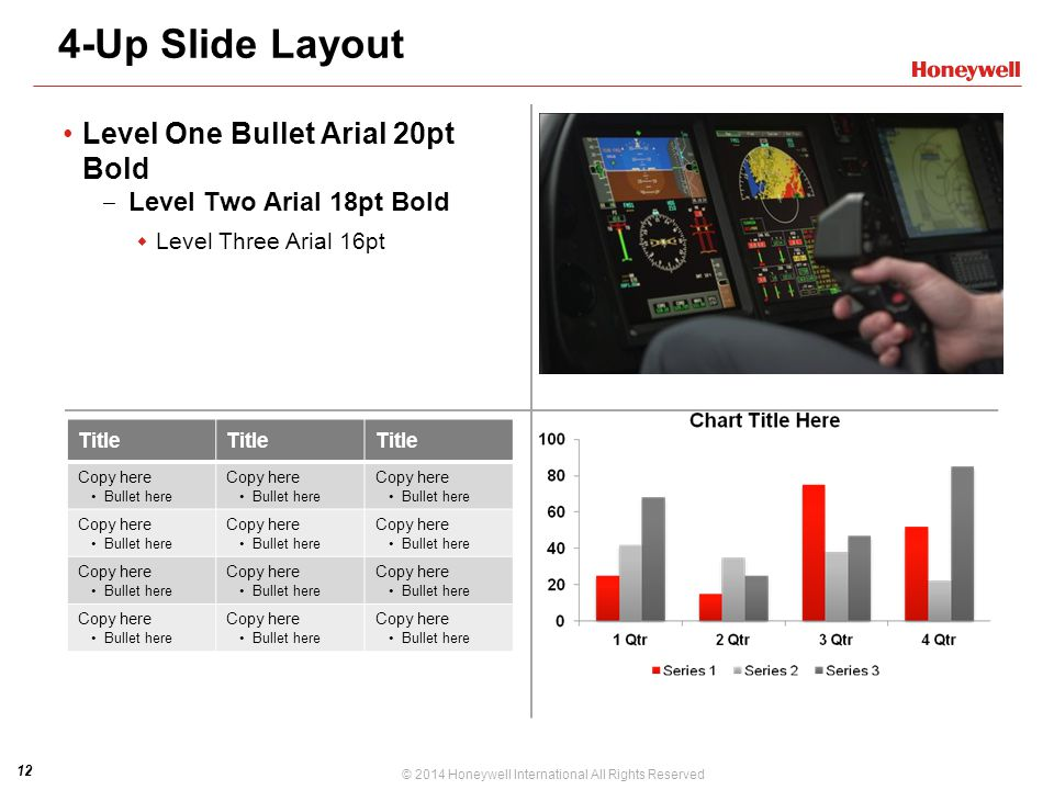 4-Up Slide Layout Level One Bullet Arial 20pt Bold