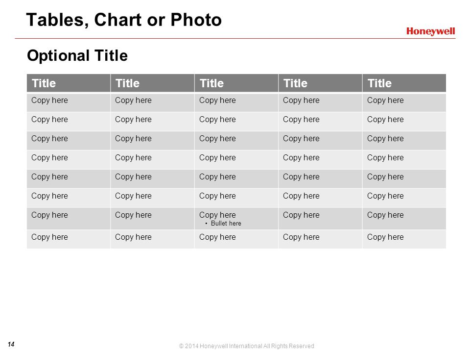 Tables, Chart or Photo Optional Title Title PPT DESIGN NOTE: