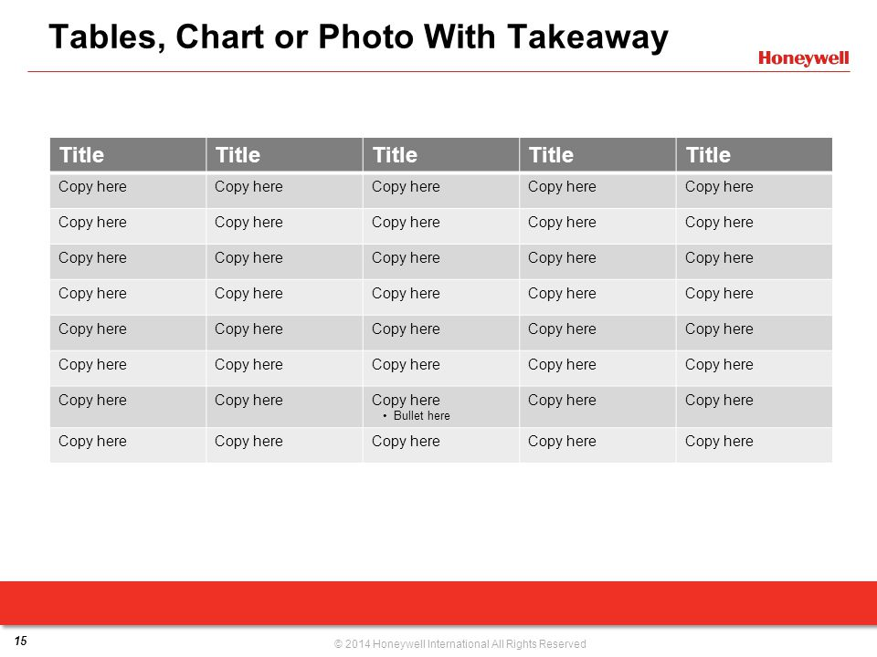 Tables, Chart or Photo With Takeaway