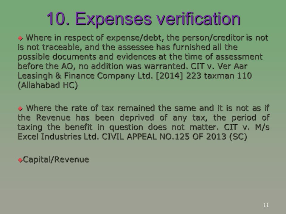 10. Expenses verification