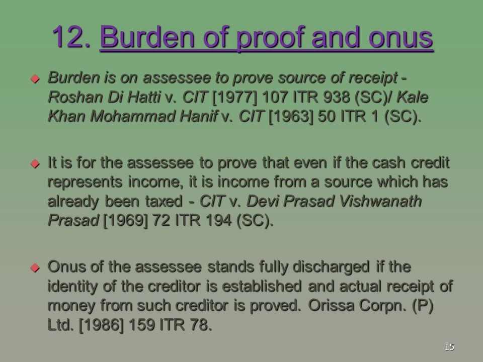 12. Burden of proof and onus