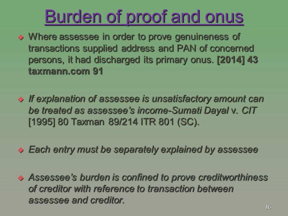 Burden of proof and onus