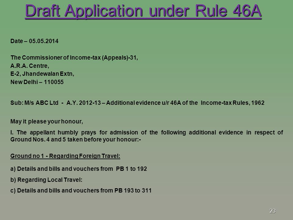 Draft Application under Rule 46A