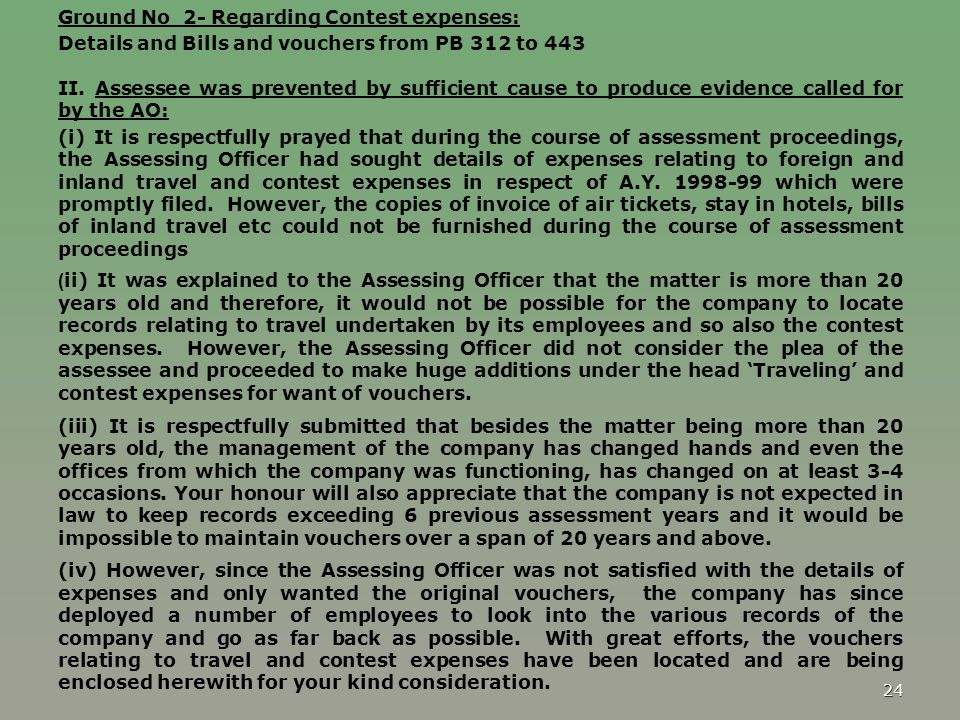 Ground No 2- Regarding Contest expenses: Details and Bills and vouchers from PB 312 to 443 II.