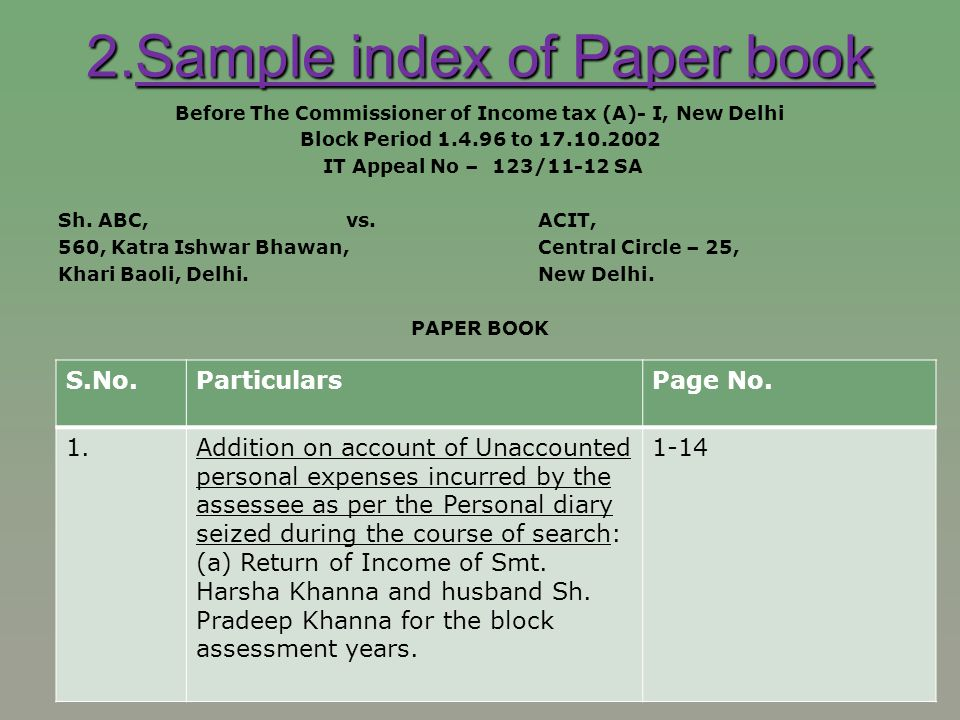 2.Sample index of Paper book