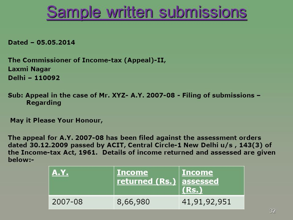 Sample written submissions