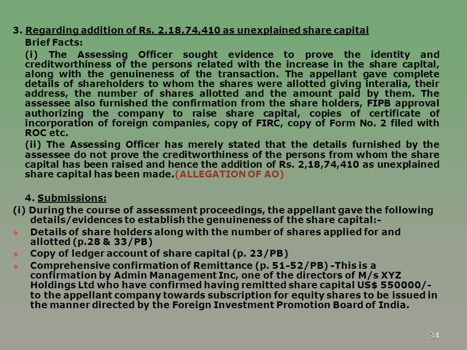 3. Regarding addition of Rs. 2,18,74,410 as unexplained share capital