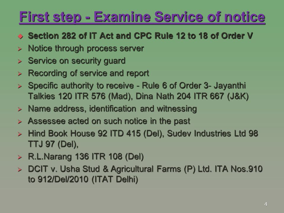 First step - Examine Service of notice