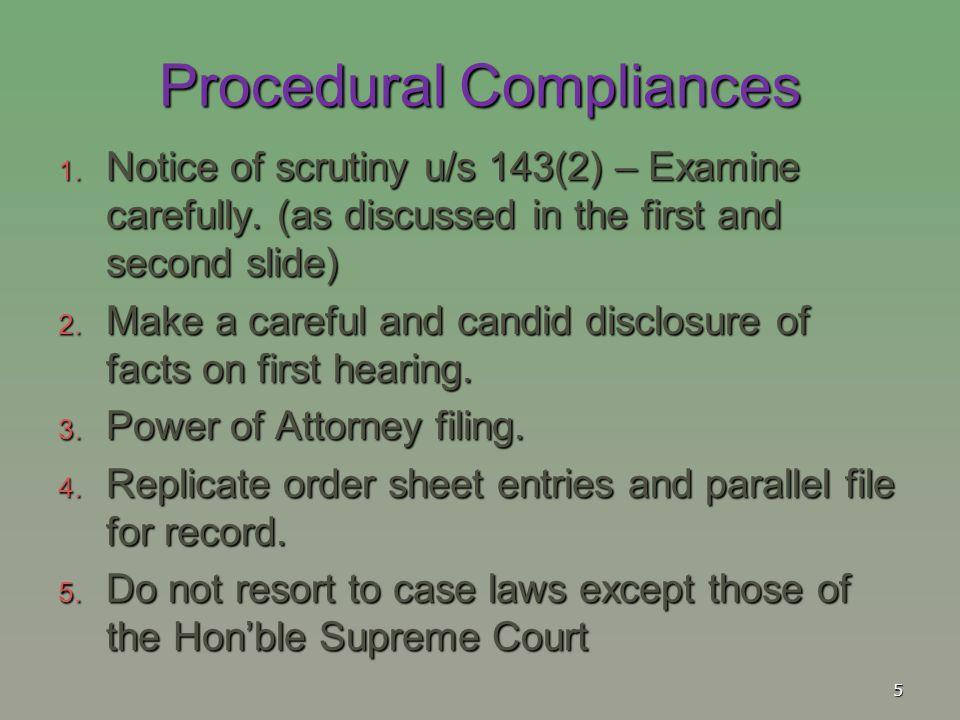 Procedural Compliances
