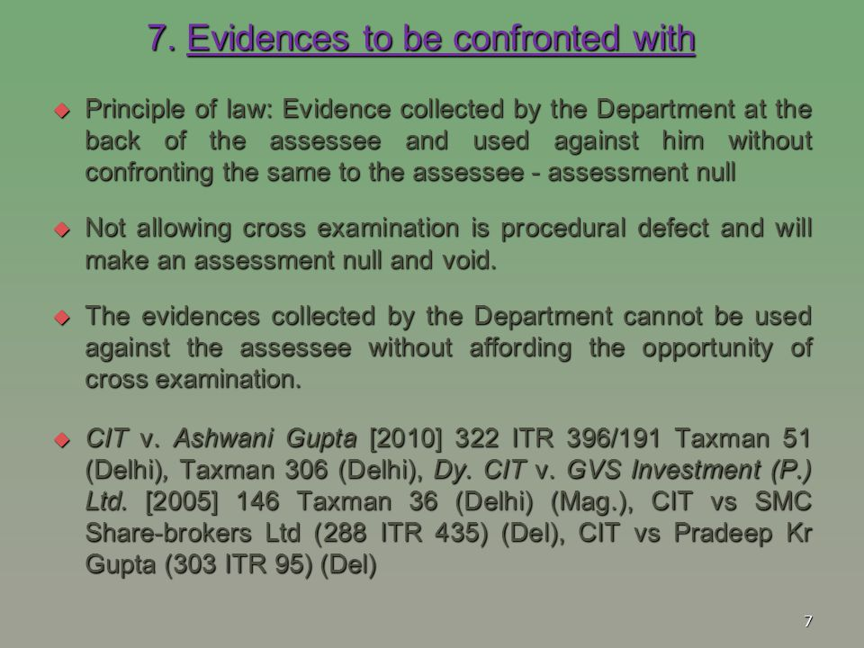 7. Evidences to be confronted with
