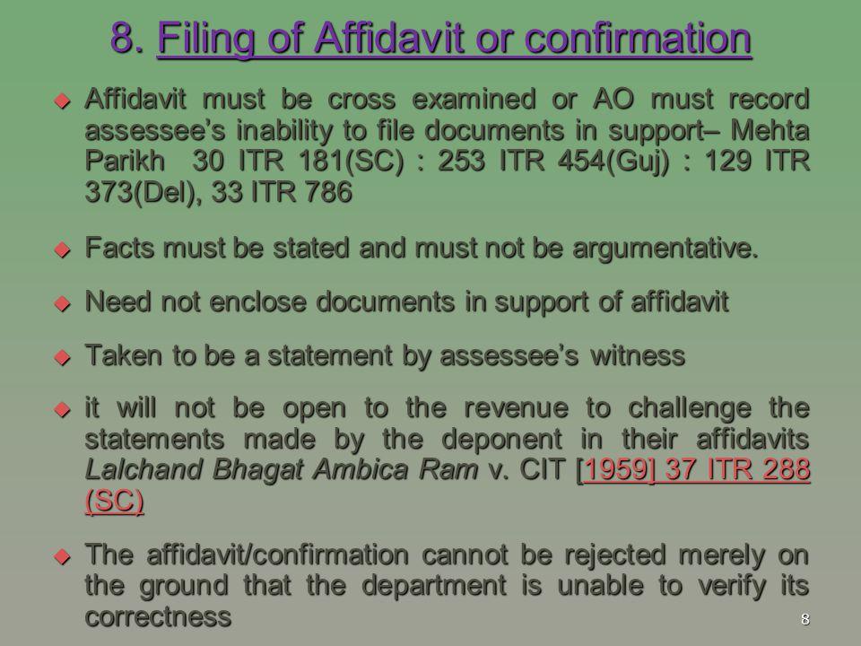 8. Filing of Affidavit or confirmation