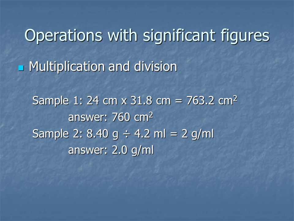 Operations with significant figures