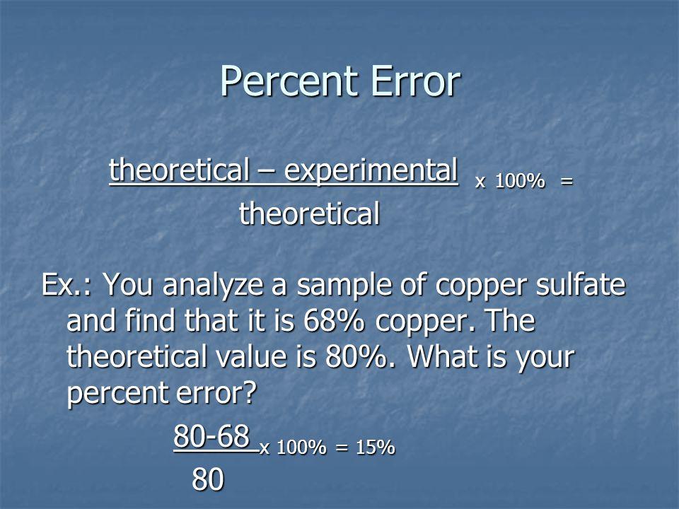 Percent Error theoretical – experimental x 100% = theoretical