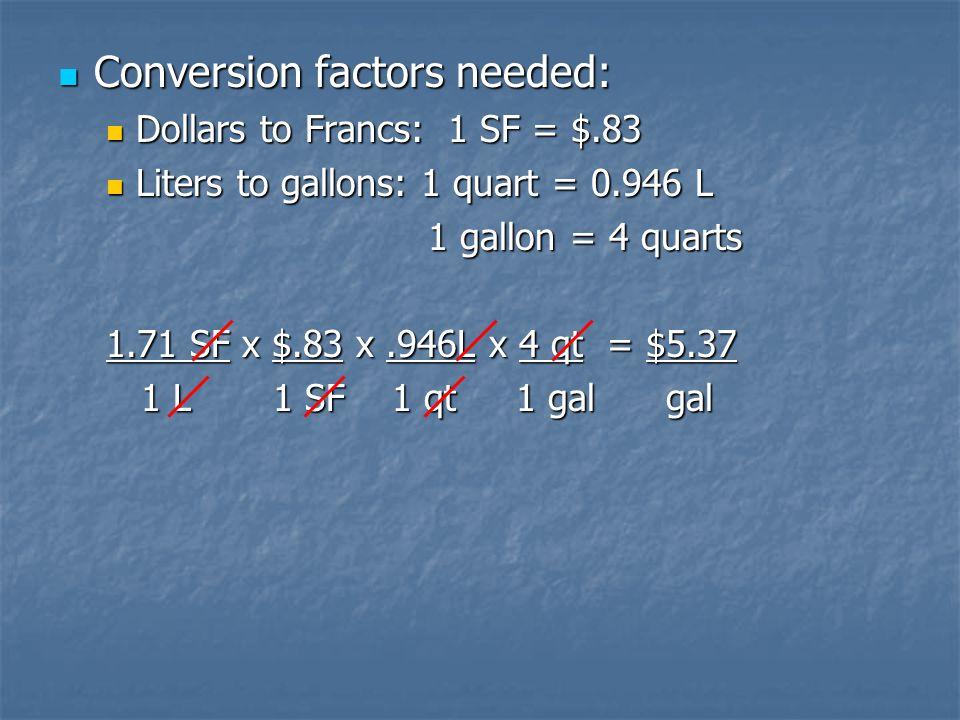 Conversion factors needed: