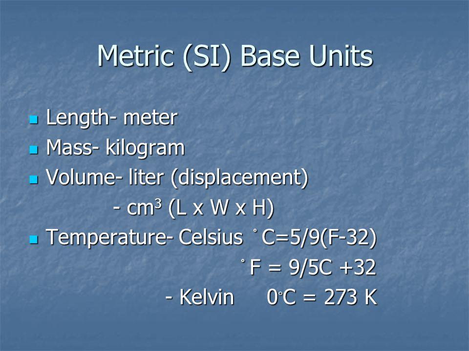 Metric (SI) Base Units Length- meter Mass- kilogram