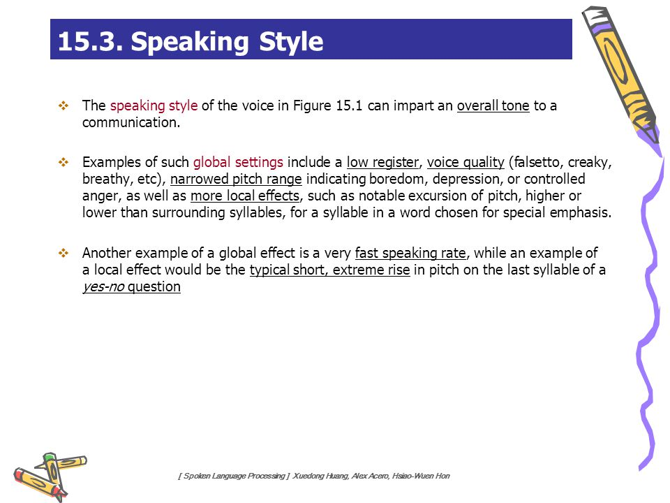 15.3. Speaking Style The speaking style of the voice in Figure 15.1 can impart an overall tone to a communication.