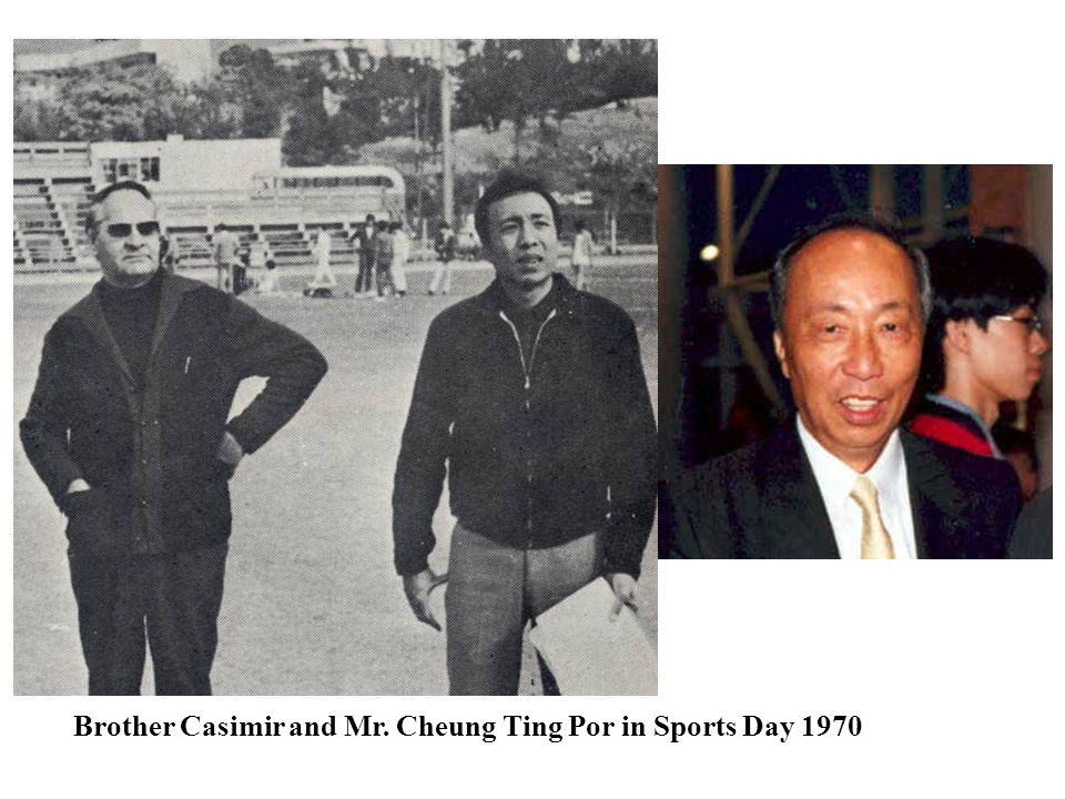 Brother Casimir and Mr. Cheung Ting Por in Sports Day 1970