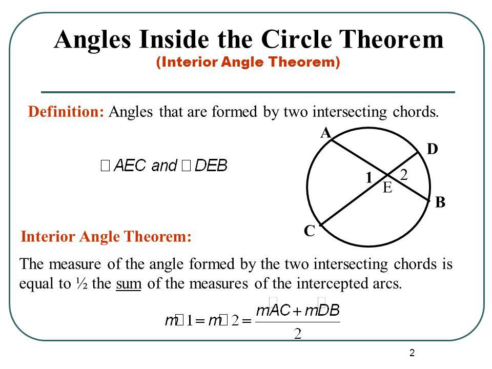 Angles Inside the Circle Theorem (Interior Angle Theorem)