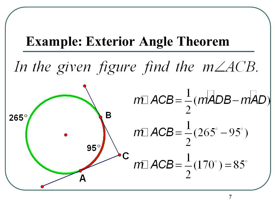 Apply other angle relationships in circles ppt video for Exterior angle theorem
