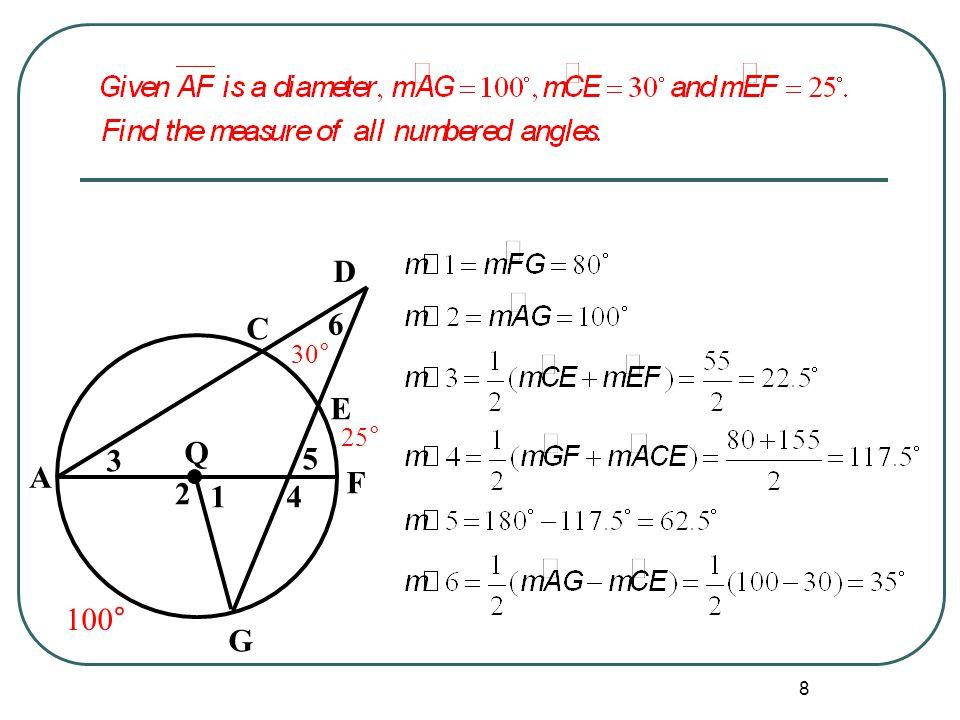 Q G F D E C 1 2 3 4 5 6 A 30° 25° 100°