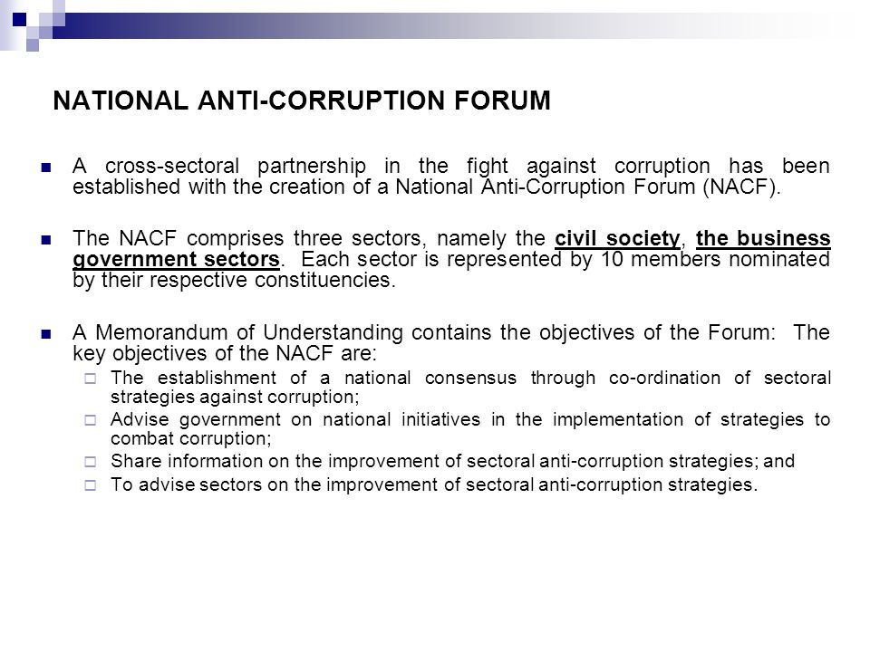 NATIONAL ANTI-CORRUPTION FORUM