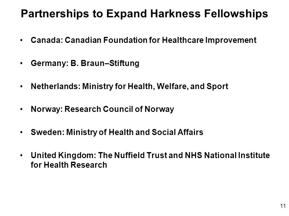 Partnerships to Expand Harkness Fellowships