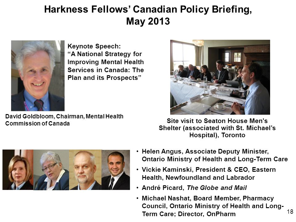 Harkness Fellows' Canadian Policy Briefing, May 2013