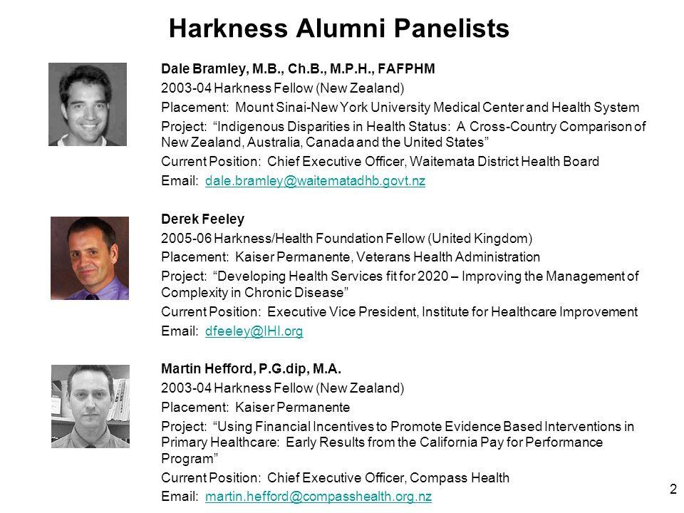 Harkness Alumni Panelists